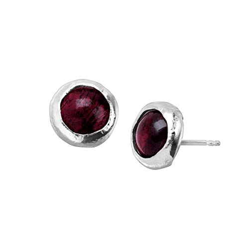 Silpada 'January Celebration Collection' Natural Garnet Stud Earrings in Sterling Silver