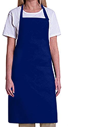 Bib Aprons-MHF Aprons-1 Piece Pack-2 Waist Pockets- New Spun Poly-commercial Restaurant Kitchen (Navy)