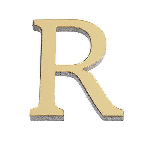 ABC Wandaufkleber 26 Gold Alphabet Wandtattoo 3D Spiegel Wandsticker, Kreativ Spiegel Buchstaben Aufkleber, DIY selbstklebende Schlafzimmer Wohnzimmer Kinderzimmer Colorful (R)