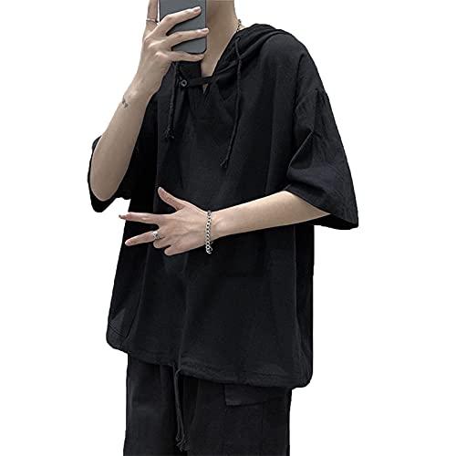 Camiseta con Capucha para Hombre Sudaderas suéter de Manga Corta Casual Tops de Moda Estilo Urbano Tendencia Retro Hip Hop Hop Hop Hop Hop Joys Monocromo Camiseta de Monocromo