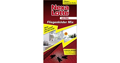 Nexa Lotte Ultra Fliegenköder Mix, gegen Fliegen, Stubenfliegen, u.a., Sofort- und Langzeitwirkung, 2x Blumen+6 Streifen