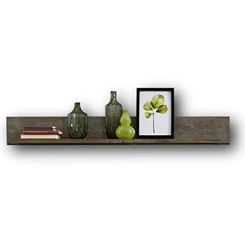 CROWN X Wandboard in Driftwood Optik, Weiß - hochwertiges & vielseitig einsetzbares Wandregal - 140 x 18 x 22 cm (B/H/T)