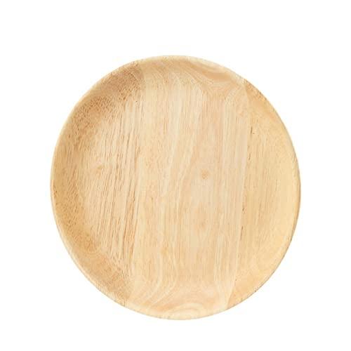 Platos de madera, platos de madera para cenar, bandejas redondas de 7.1 pulgadas, platos clásicos para platos, aperitivos, postres, carne, ensalada, frutas, juego de 2 (tamaño: 15 cm)