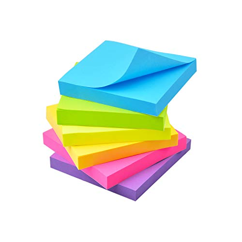 Pop Up Sticky Notes 3x3 Refills Self-Stick Notes 6 Pads, 6 Bright Colors, 100 Sheets/Pad