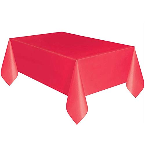 Lysee Disposable Party Tableware - 137x183cm Pure Color Disposable Tablecloth Kids Happy Birthday Wedding Party Tablecover Supplies White Black red Yellow - (Color: Red)