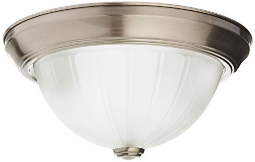Nuvo Lighting 60/446 Two Light Flush Mount with Frosted Melon Glass, Brushed Nickel, 11-Inch