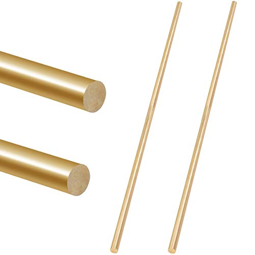 Glarks 2Pcs 6mm x 356mm Brass Straight Solid Round Rod Lathe Bar Stock for DIY RC Model Car, RC Helicopter Airplane, Model Ship (6mmx356)
