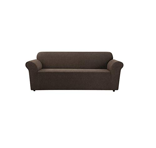 SureFit Sofa Slipcover-Stretch Chenille-Box Cushion Form Fit, Up to 88 Inches Wide-Machine Wash, Chocolate