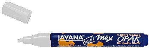 Kreul 92760 - Javana Texi Mäx Opak Stoffmalstift für helle und dunkle Stoffe, waschecht nach Fixierung, mit Rundspitze ca. 2 - 4 mm, weiß
