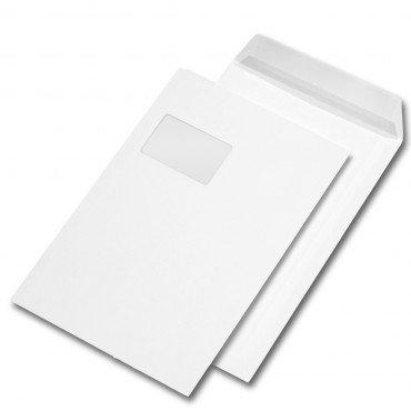 100 Stk. Versandtaschen C4 weiß, mit Fenster, haftklebend mit Abdeckstreifen (229 x 324 mm)
