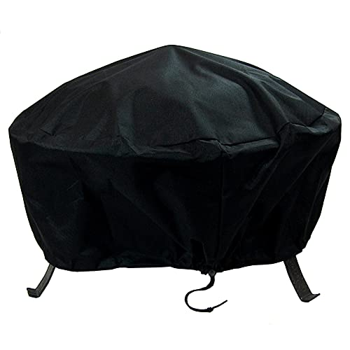 Sunnydaze Round Outdoor Fire Pit Cover - Weather Resistant Black Heavy Duty Vinyl PVC with Drawstring Closure - 36 Inch