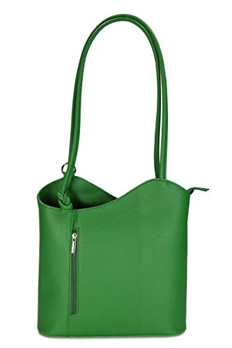 Belli Italian Leather Backpack 2-in-1 Women's Backpack Leather Handbag Shoulder Bag – Choice of Colours – 28 x 28 x 8 cm (W x H x D) (Green)