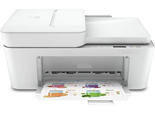 HP DeskJet Plus 4120, 3XV14B Stampante Multifunzione a Getto di Inchiostro, Stampa, Scansiona, A4, Fax da Mobile, ADF, Wi-Fi, USB 2.0, 3 mesi di Instant Ink inclusi nel Prezzo, Bianca