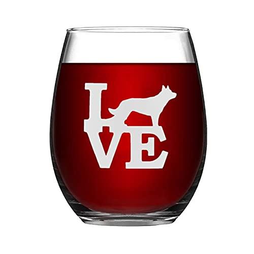 Copa de vino australiana Kelpie Love Pet Animal Divertida copa de vino sin tallo, grabado con láser, para whisky, para ella, mamá, esposa, jefe, hermana, BFF, 15 onzas