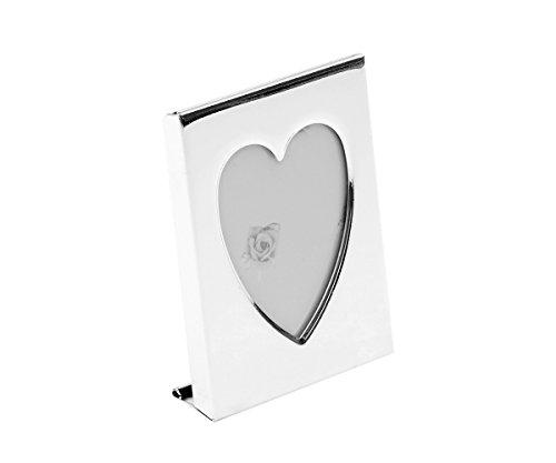 Brillibrum B-Ware Fotolijst mini fotolijst kleine pasfoto passfoto hart met gravure portretzilver metaal 4 x 5 cm hartvorm vrienden lijst foto