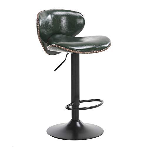 Zaixi Noir/Marron/Rouge/Blanc/Vert Foncé Cadre De Chaise Noir Européen Chaise De Bar Peut Soulever Chaise Pivotante 360 ° Caisse Tabouret Haut Avec Dossier Tabouret De Bar (Couleur : Vert foncé)