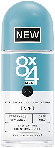 8X4 Men Deo Roll-On N°9 Dry Cool (50 ml), Herren Deodorant mit aromatischem Minz-Duft, 48h zuverlässiger Anti-Transpirant-Schutz für jeden Hauttyp