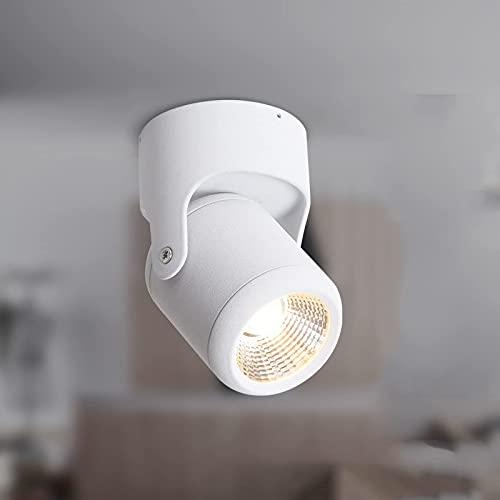 Foco de riel LED Moderno, 3W / 7W Luz de Techo Ajustable de Aluminio montada en la Superficie Tienda de Ropa Luz de riel de Techo COB para la Entrada del Porche de la Sala de Estar, Negro 4000k, 7W