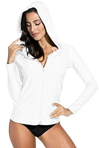 BesserBay Damen Rash Guard Neopren Shirt Kurzarm UV Shirts Wasser Rash Guard UV Schutzkleidung White XL