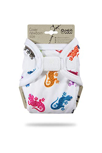 Petit Lulu Neugeborenen Überhose (2-6 kg) für Stoffwindeln Klett (Geckos)