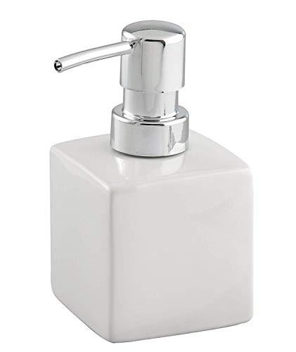 Wenko Seifenspender Square - Flüssigseifen-Spender, Spülmittel-Spender Fassungsvermögen: 0,245 l, Keramik, 7 x 13 x 7 cm, weiß