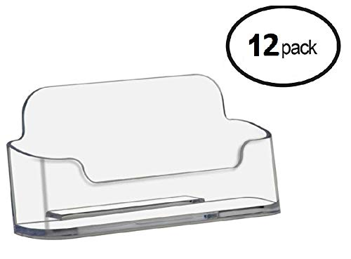 T'z Tagz Brand 12 Pack - Plastic Desktop Business Card Holder Display (Style B 12 Pack, Clear)