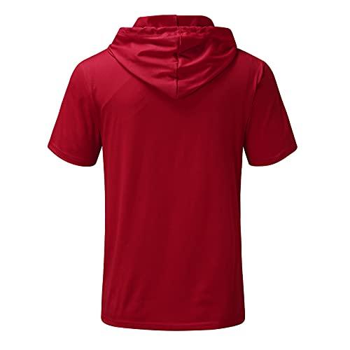 Camiseta de manga corta con capucha para hombre, verano, informal, bolsillos con capucha, manga corta, blusa, suéter rojo XL