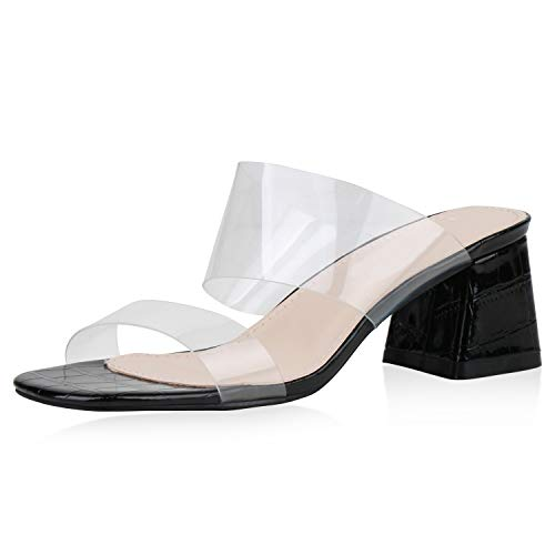 SCARPE VITA Damen Sandaletten Pantoletten Lack Transparente Schuhe Blockabsatz Abendschuhe Party High Heels Schlupfschuhe 188491 Schwarz Transparent 38