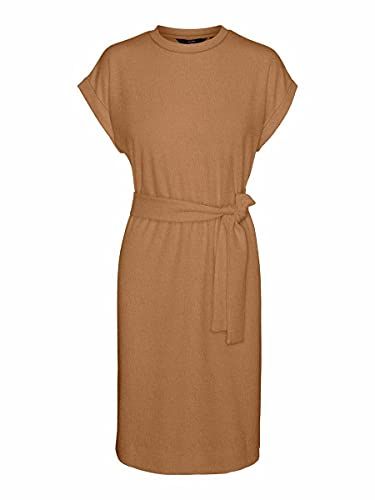 VERO MODA Damen VMKIARA SS Wide ABK Dress JRS Kleid, Tobacco Brown, L
