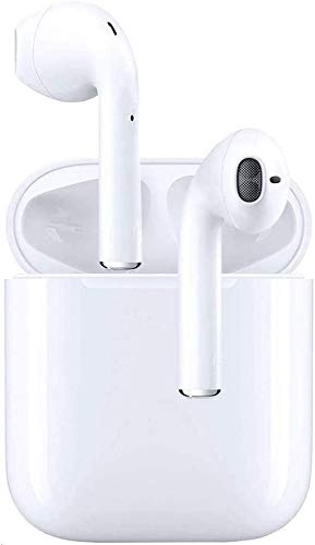 Cuffie Bluetooth,Auricolare Wireless in-Ear, Cuffie Stereo 3D Sportive, con Scatola di Ricarica 24 Ore e Associazione Automatica del Microfono Integrato per Samsung/Huawei/iPhone/Android (Bianco)