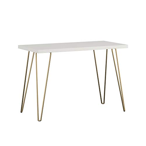 AmazonBasics Retro Hairpin Console Table - Solid White with Matte Gold Legs