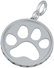 Bark Avenue Jewelers- Sterling Silver Cut Out Paw Print Pendant- Large