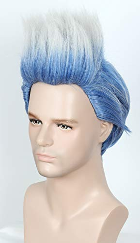 Linfairy Kid Short Layered Cosplay Wig Halloween Costume Blue Sliver Hair Party Wigs for Child