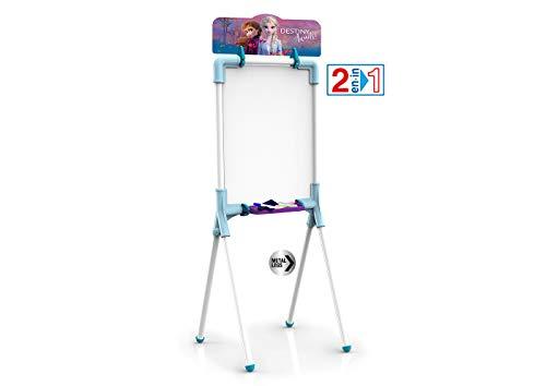 Chicos Pizarra Junior Reversible 2 en 1, Incluye Rotulador, Tizas, un Borrador y una Plantilla de Frozen II, a Partir de 3 Años, Color Azul, 37 x 32.5 x 98 cm (Fábrica de Juguetes 53039)