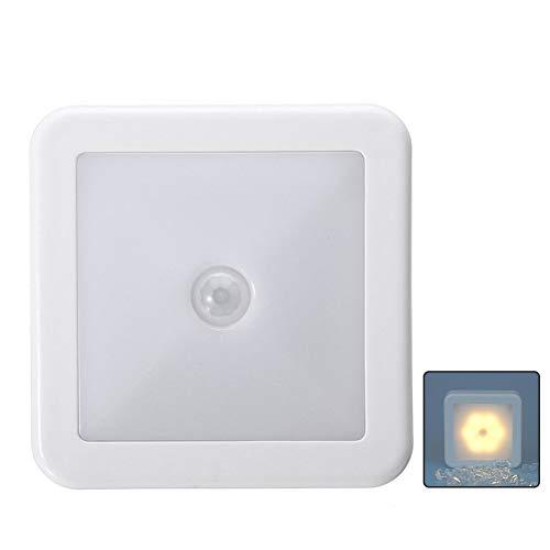 WHONG Bewegungssensor Nachtlicht-Quadrat-LED drahtlose intelligente Lampe Auto auf Off batteriebetriebene Nachtlicht für Schlafzimmer Küche Treppe Camping Zelte usw,Warmlight