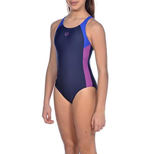 ARENA Mädchen Sport Badeanzug Ren, Navy-Neon Blue-provenza, 164