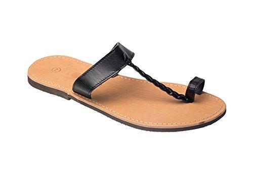 Herren Echt Leder Sandale Jesus Sandalette Sandalen Natur schwarz Original Kreta 46