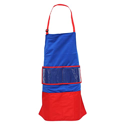 """TOYANDONA Avental infantil """"Faça você mesmo"""", aventais de pintura infantil, aventais de cozinheiro com bolsos, batidas, artes infantis para assar, cozinhar, desenhar, cozinha, sala de aula, artesanato, azul e vermelho"""