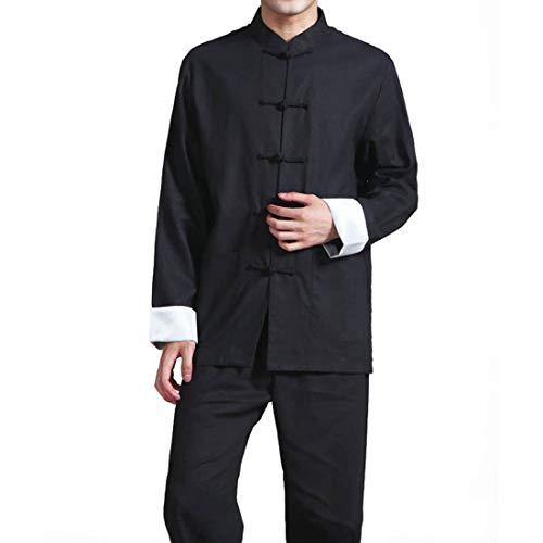 Men's Cotton Linen Kung Fu Suit Chinese Martial Arts Uniform Meditation Suit Roll-Up Sleeve Frog Button Shirt Pants Outfit (Black, XL)