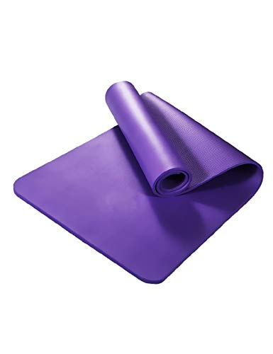 Letuwj Thick Non Slip Yoga Exercise Mat for Home Gym with Carrying Strap Purple 72x24x0.4inch