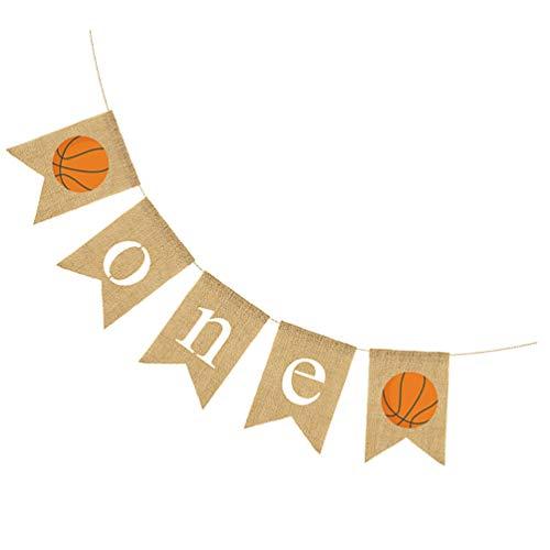 SOIMISS Arpillera de Yute Baloncesto Una Silla Alta Banner Arpillera Vintage Banderines Niño Niña 1Er Cumpleaños Fiesta Trona Cola de Golondrina Guirnalda Decoración