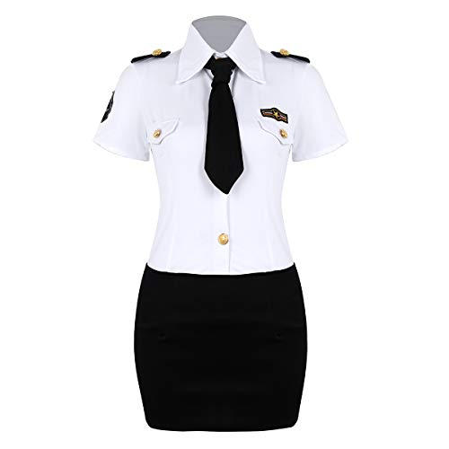 iixpin Damen Polizeikostüm Polizistin Kostüm Sekretärin Kostüm Frauen Polizistin Uniform Kleid Dessous Set Cosplay Karneval Verkleidung Weiß&Schwarz XXXX-Large