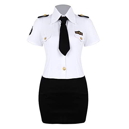 Alvivi Damen Polizeikostüm Cosplay Polizistin Kostüm Dessous Polizistin Uniform Kleid Rollenspiel Verkleidung Sekretärin Kostüm Weiß&Schwarz S