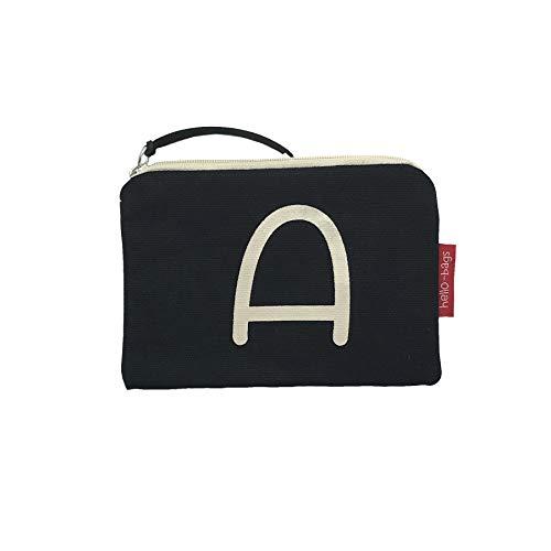 Hello-Bags portemonnee van katoen met ritssluiting, 14 cm, zwart