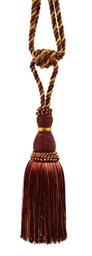 DÉCOPRO Elegant Wine (deep red), Gold Curtain & Drapery Tassel Tieback / 8 Inch Tassel, 30 Inch Spread (Embrace) Style# TBH8 - Carmine Gold 1253