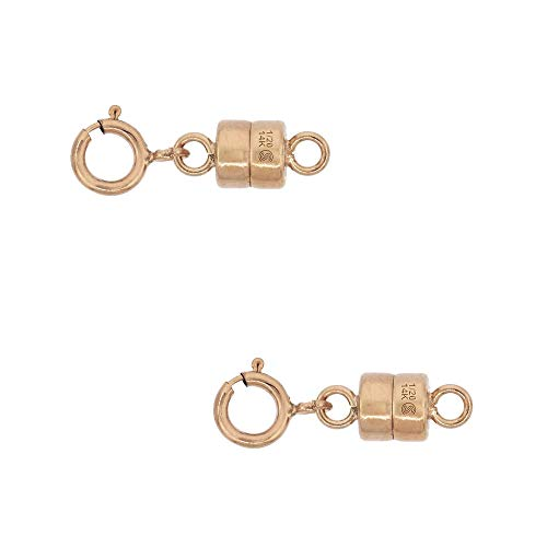 2 Pack 14k Rose Gold-Filled 4 mm Magnetic Clasp Converter for Light Necklaces USA Square Edge 5.5mm SpringRing