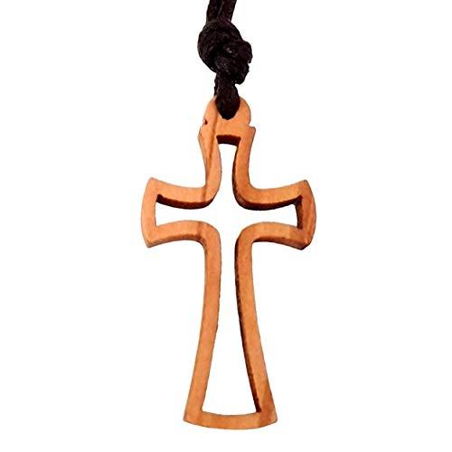 Ampals,collana marrone con vero legno d'ulivo fatta a mano a Gerusalemme, scatola di corda di iuta Kraft, regalo di Natale, battesimo, festa cristiana, compleanno, protezione dell'auto,casa, benessere