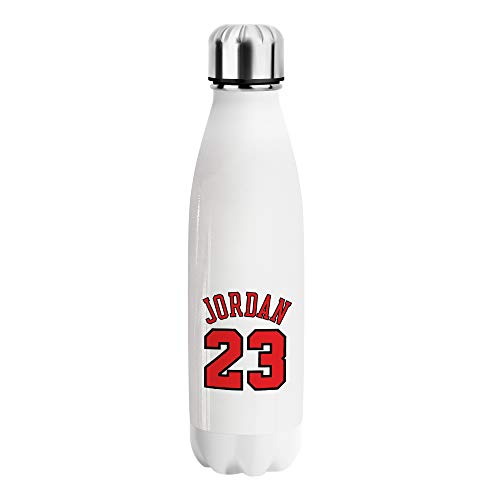 Jordan 23 Number Basketball Water Bottle CO070 Bottiglia d'Acqua Stainless Steel Funny Insulated 500ml Thermos for Hot And Cold Bottles Sports Hiking Gym Regalo di Natale