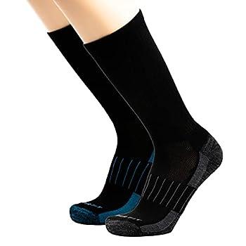 Copper Fit unisex adult Crew Sport - 2 Pack Running Socks Black Large-X-Large US