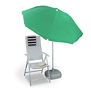 Relaxdays Sonnenschirm 180 cm Spannweite, 8 Rippen Polyester, Neigefunktion, Gartenschirm, Gastroschirm, farbig